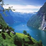 "Power of Human and Nature, Beautiful ""Geirangerfjord"", in Norway"