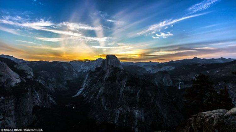 A beautiful mountain range in Yosemite Valley, California taken in 2013 transforms itself in the timelapse video