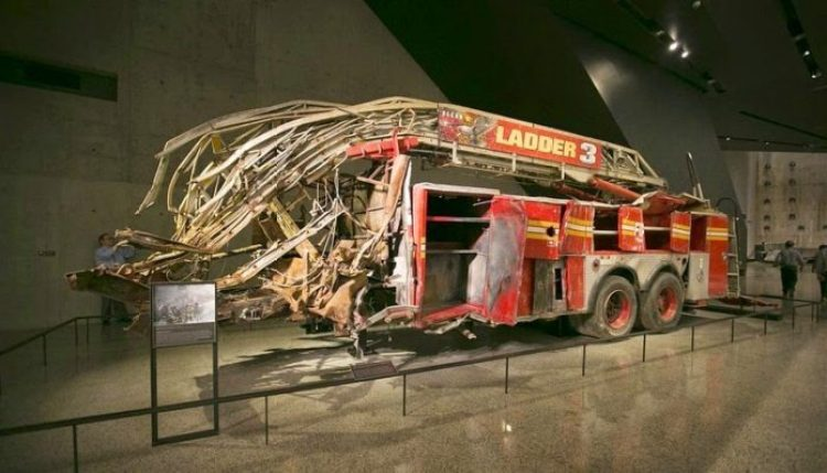 The remnant of a firetruck that was damaged in the September 11 attacks