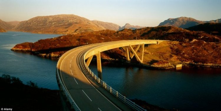 he North Coast 500 route in Scotland covers over 500 miles of spectacular Scottish scenery, including the stunning Kylesku Bridge