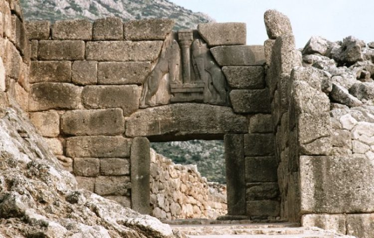 Wall and Lion Gate. Citadel of Mycenae (1350-1330 BCE). Wall and Lion Gate were discovered in 1876-1877 by Heinrich Schliemann.