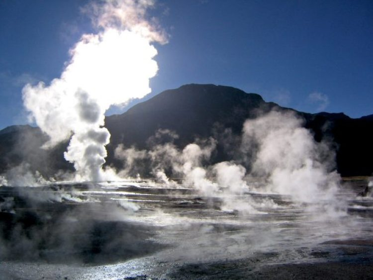 The steam plumes disappear as the air warms up, and possible to bathe in the hot geyser water in a small pool.