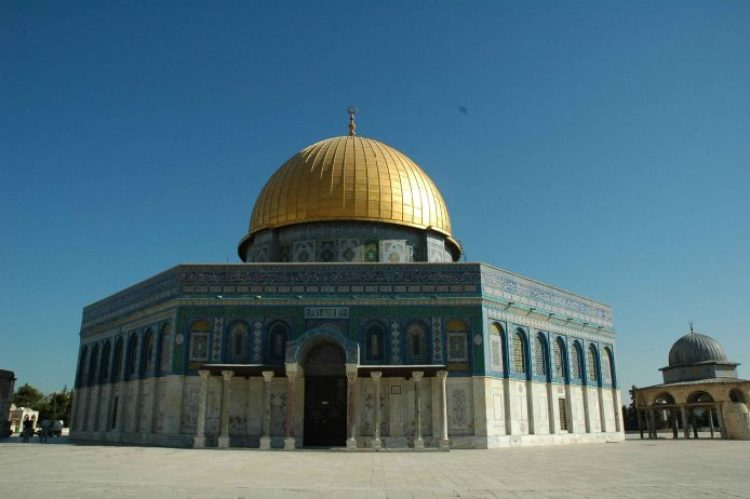 The Dome of the Rock mosque in Jerusalem has vibrant turquoise mosaic tiles and a gigantic golden dome. It is said to be the third holiest in Islam after Makkah and Medina