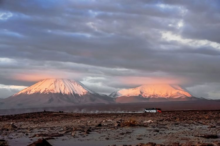 Licancabur, on the left, is much younger than its smaller neighbour Juriques