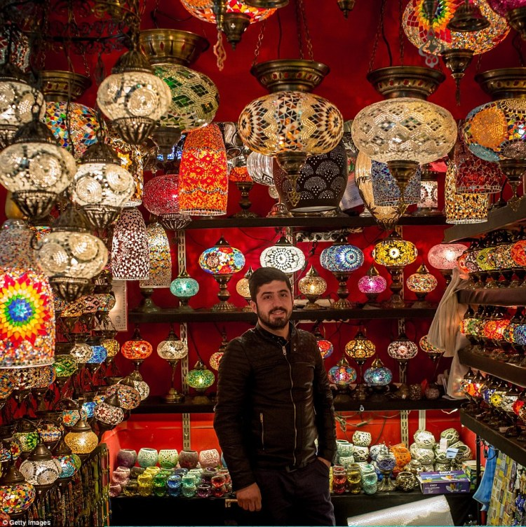 Dogan Mert's shop sells artistic lamps and lanterns with traditional Turkish design