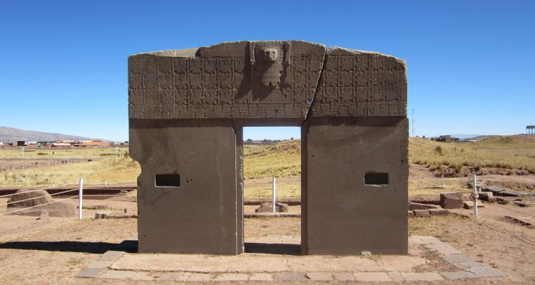 The Gate of Sun is a megalithic solid stone arch located near Lake Titicaca near La Paz, Bolivia.