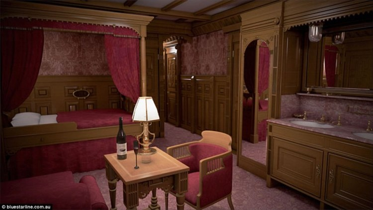 Like the original, first class cabins on board Titanic II will feature beds with curtains, wood panelling and his and hers sinks