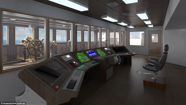 The bridge on Titanic II will be designed according to modern regulations and feature state-of-the-art technology
