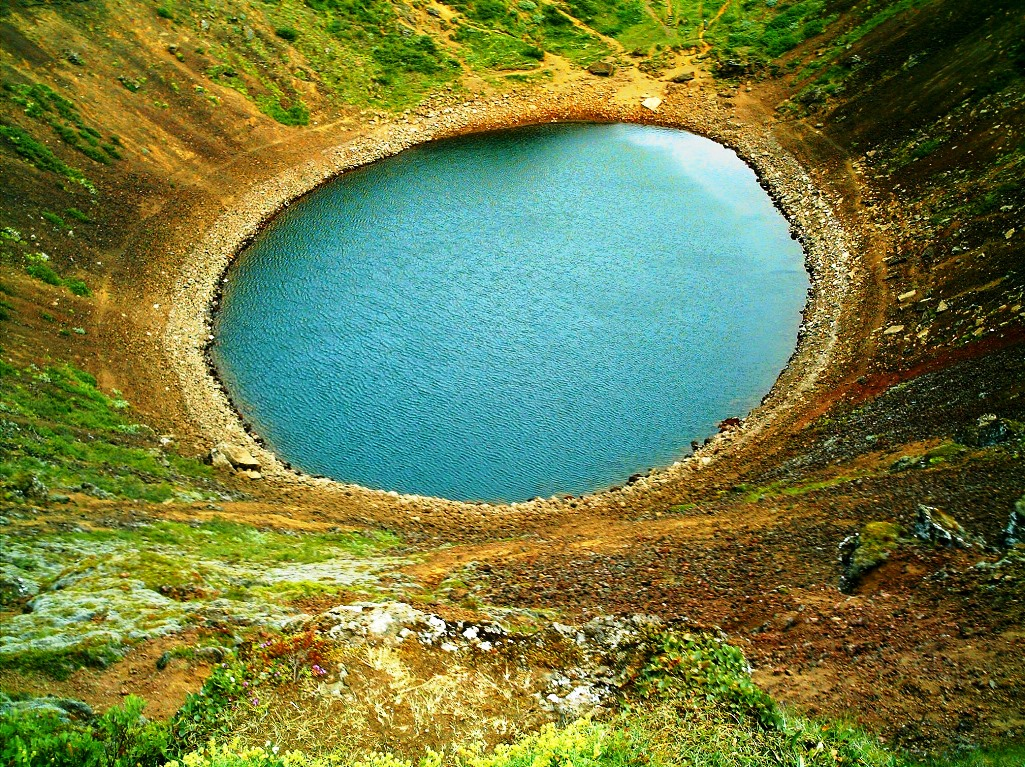 Kerið Crater, A Volcanic Crater Lake in Iceland