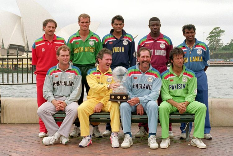 The nine captains with the trophy, World Cup, Sydney, February, 1992