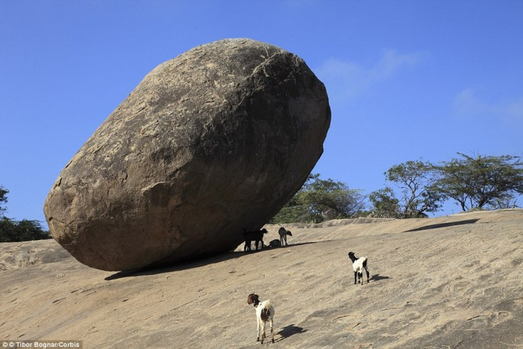 The mysterious rock which is not rolling more than 1300 years steel dare stand under his teetering 250 ton rock in India.