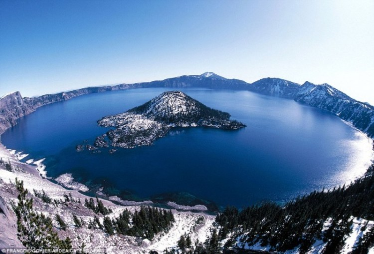Crater Lake is a full-sized tree which is now a stump that has been bobbing vertically in the lake for more than a century.