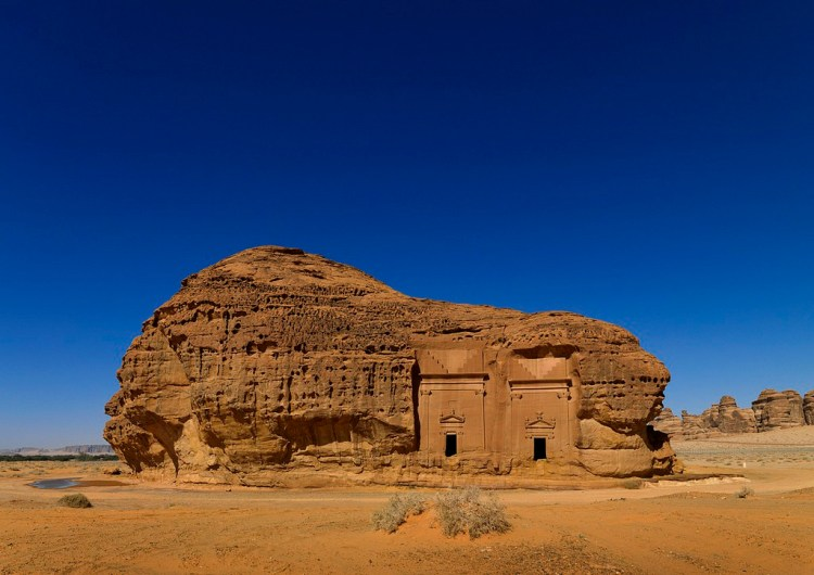 Madain Saleh in Saudi Arabia, a sister city to Jordan's Petra. UNESCO world heritage site, located in the Al-Ula sector, within the Al Madinah Region of Saudi Arabia. The Archaeological Site of Al-Hijr (Madain Salih) was formerly known as Hegra, it is the largest conserved site of the civilization of the Nabataeans south of Petra in Jordan. It features well-preserved monumental tombs with decorated facades dating from the 1st century BC to the 1st century AD. With its 111 monumental tombs, 94 of which are decorated, and water wells, the site is an outstanding example of the Nabataeans' culture.