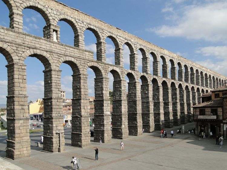 Aqueduct of Segovia, located in the city of Segovia, Spain.