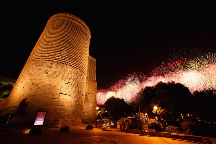 The tower's unusual construction is impossible to miss the mighty Maiden Tower when visiting Baku.