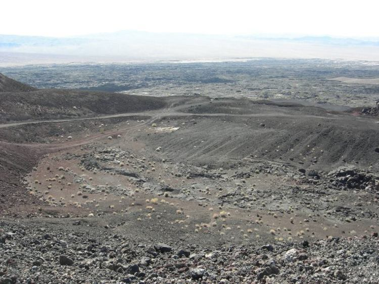 Therefore, the first eruption was a basaltic flow created extensive lava fields, and evidence of intrusive structures, it is believed the cinder cone was formed during this time.