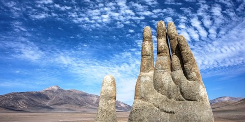 """""""Mano del Desierto"""" is a symbol of the contrasting ideas which shows how small, helpless and stranded humans are."""