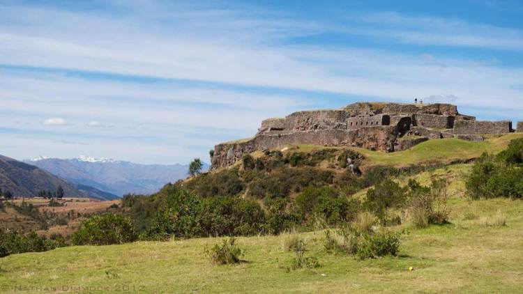 The fortress is also located on high ground a bird eye view of Cusco valley and Tambo Machay, creating a beautiful view.
