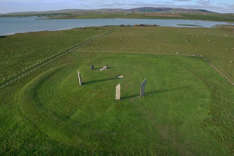 The Standing Stones of Stenness are actually a circle of 12 stones with a diameter of 30m and comprises of 4 uprights.
