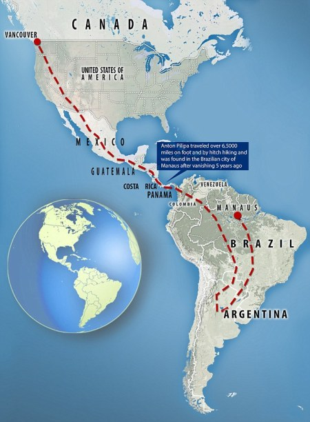 Anton traveled through at least ten countries from Canada, including the United States, Mexico, Guatemala, Costa Rica, Panama, Colombia, Venezuela, Argentina and Brazil