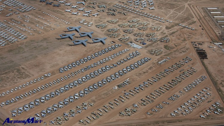 """The worlds largest """"plane graveyard"""" where more than 4,400 aircraft are dumbed in dust in the Arizona desert can now be explored in intricate detail."""