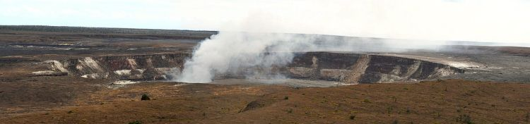 Halemaʻumaʻu Crater is a pit crater located close to caldera of Kīlauea in Hawaii Volcanoes National Park.