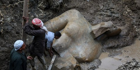 The quartzite colossus of Ramses II after they were discovered at the ancient Heliopolis archaeological site