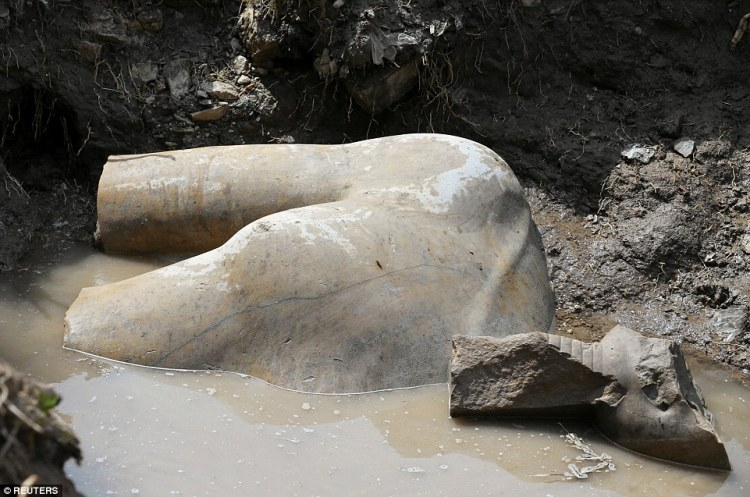 The statue stands eight meters (26 feet) tall and is carved out of quartzite, a tough stone composed mostly of quartz grains.