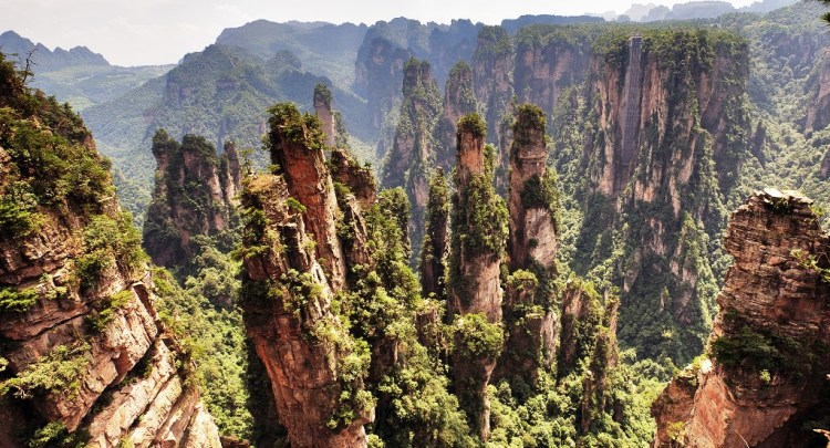 It is located in Zhangjiajie in the Hunan Province of China, nearby to the Suoxi Valley. The movie theme park has been created there.