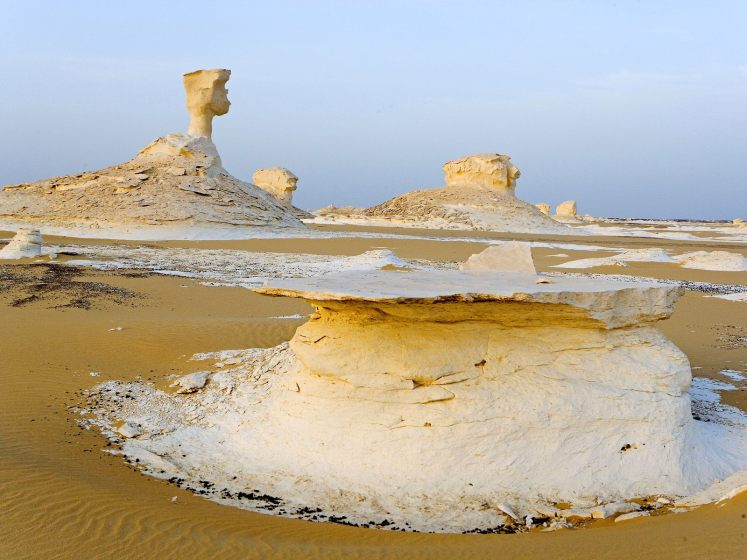 The mushrooms shaped rock formations are 10 to 15ft tall.