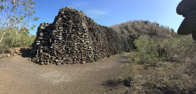 The wall construction was with volcanic stones, and Prisoners had to carry heavy stones from several kilometers.  Image credit John and Amy Osaki