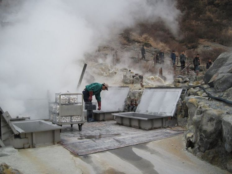 Owakudani is still active with boiling pools of sulphur-rich water and huge vents spewing forth steam and volcanic fumes of hydrogen sulphide and sulphur dioxide.