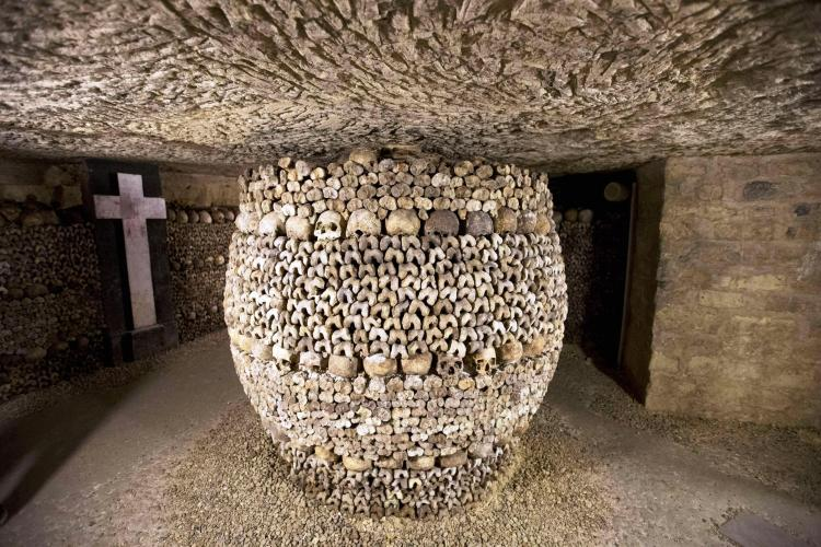 In 1785 it was decided to rectify the hygiene problems of Paris' overflowing cemeteries by exhuming the bones and storing them in disused quarry tunnels and the Catacombes were created in 1810.