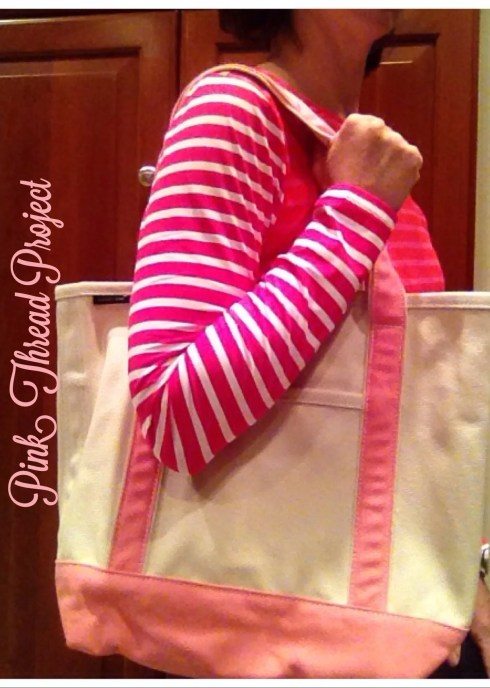 I'm wearing the special swim shirt and pink embroidered tote, thanks to Lands End!