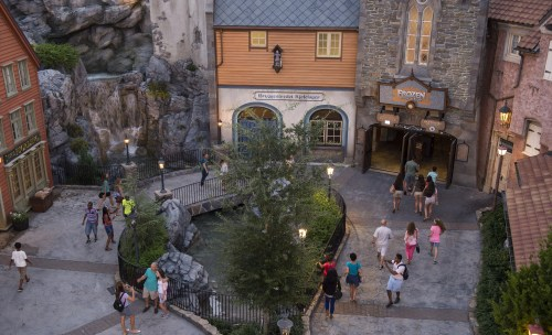 Frozen Ever After takes guests through the kingdom of Arendelle from the Disney animated hit, Frozen. Located in the Norway Pavilion at Epcot, Frozen Ever After celebrates a Summer Snow Day on a journey through a frozen willow forest, past Troll Valley and up to Queen Elsa's palace high up on the north mountain. Epcot is one of four theme parks at Walt Disney World Resort in Lake Buena Vista, Fla. (David Roark, photographer)
