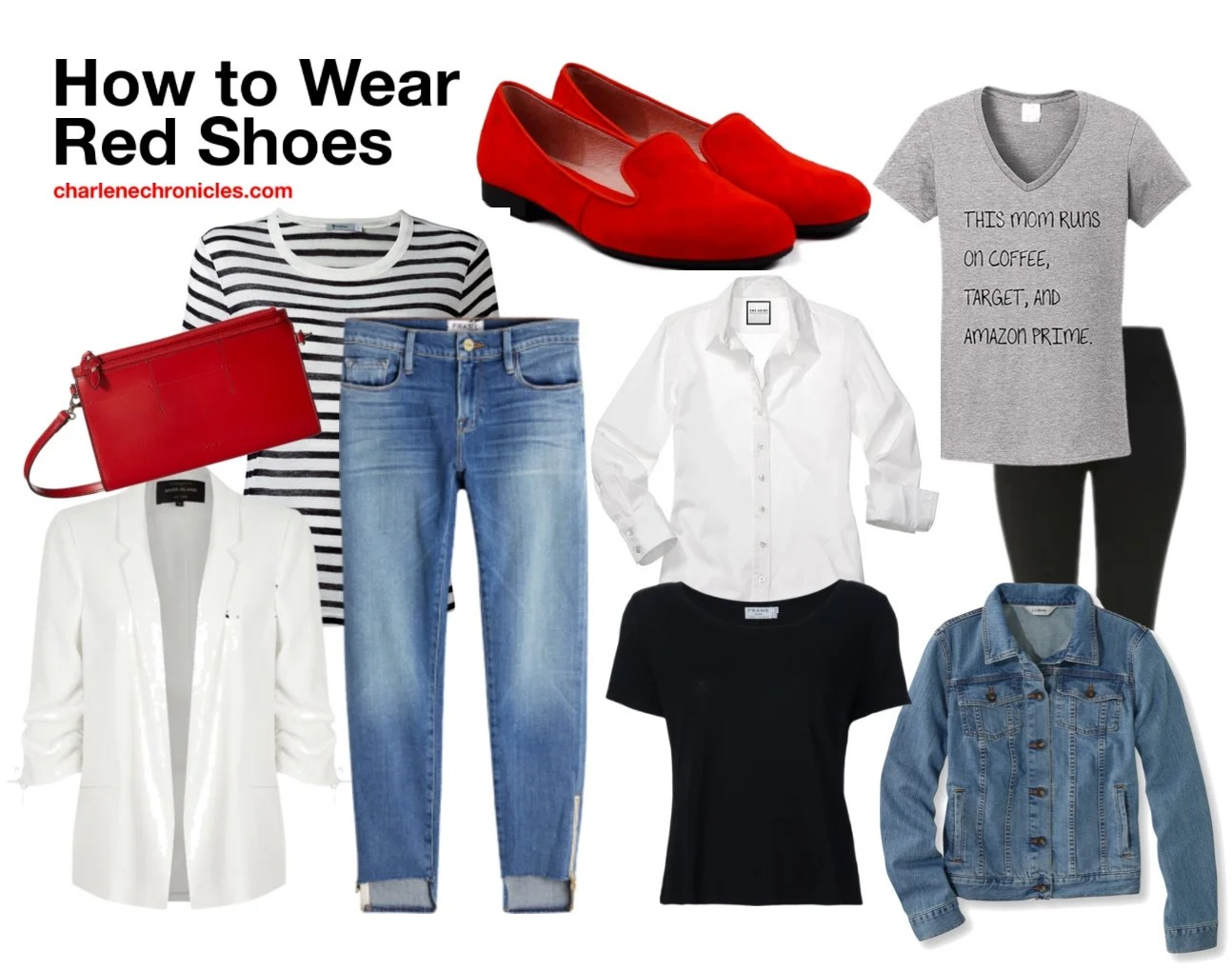 How to shoes red wear with jeans