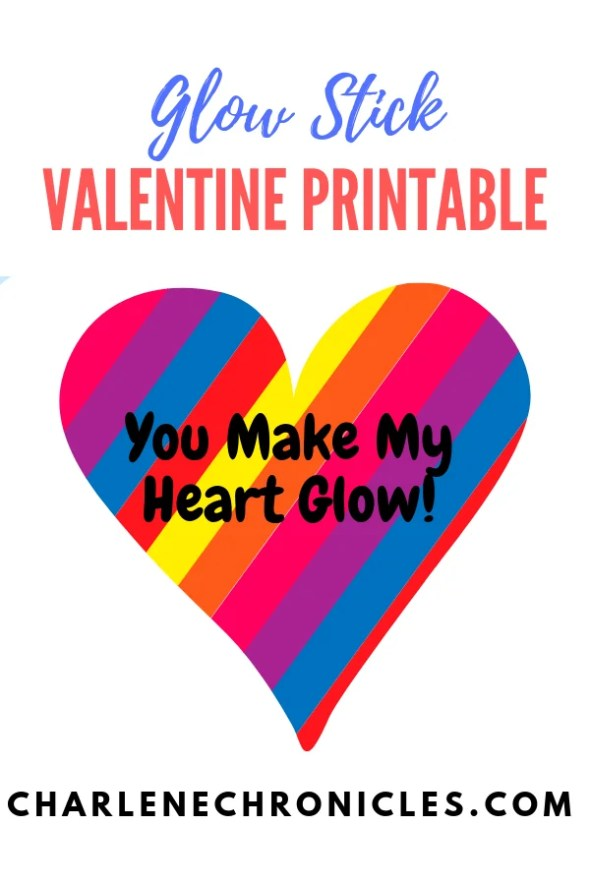 free valentines day printable for glow stick cards