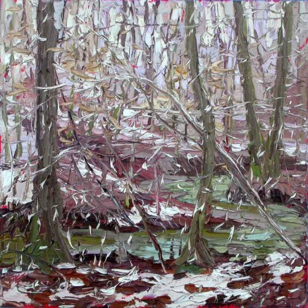 plein air studio oil paintings by Charlene Marsh 022516 12x12_plein_air_oil_painting_charlene_marsh_snowfall_in_the_forest