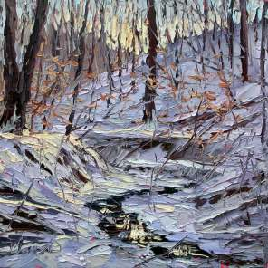 plein air studio oil paintings by Charlene Marsh Ice Cold Reflections, January 21, 2016, plein air oil on panel, 12x12, by