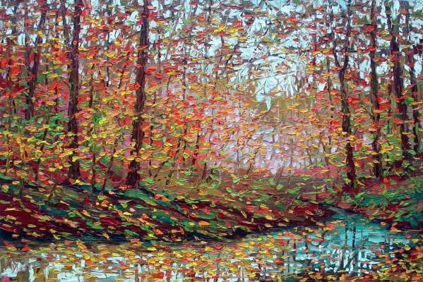 "Studio oil painting autumn forest Charlene Marsh Fall Forest Fantasy Turquoise Creek in the Fall, 24"" x 36"", oil on panel, by Charlene Marsh"