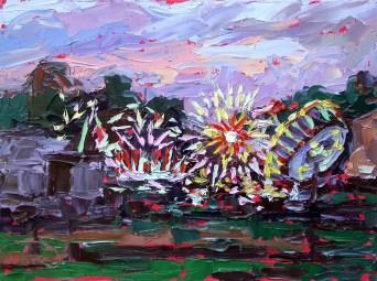Plein air oil painting county fair by Charlene Marsh
