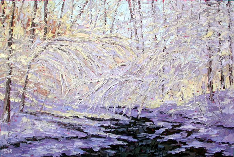 Frozen Beauty Snowy Forest Woods Oil Painting Plein Air Charlene Marsh