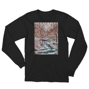 forest oil painting long sleeve tee shirt