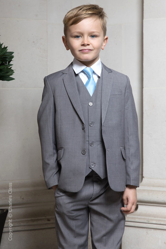 boys light grey jacket suit with sky blue tie perry