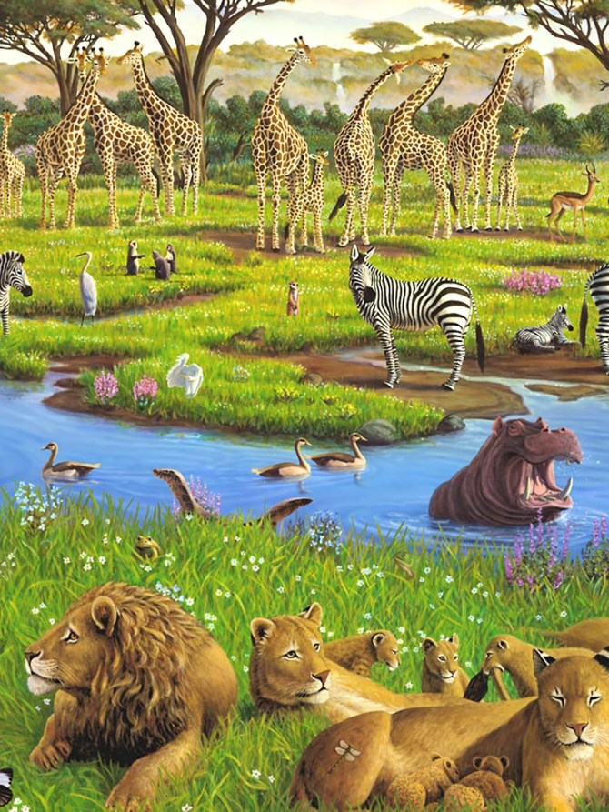 African Watering Hole, revised, detail 2