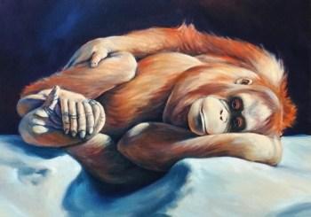 Resting Orangutan, oil on canvas