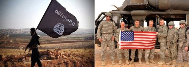 isis and US flags