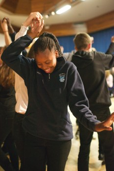 Sponsors in Botswana provided pupils with fleeces for the cold weather in Scotland