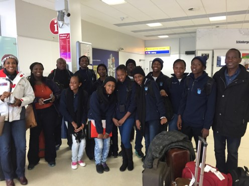 Guests from Botswana arrive at Aberdeen Airport on Saturday 21 March 2015.