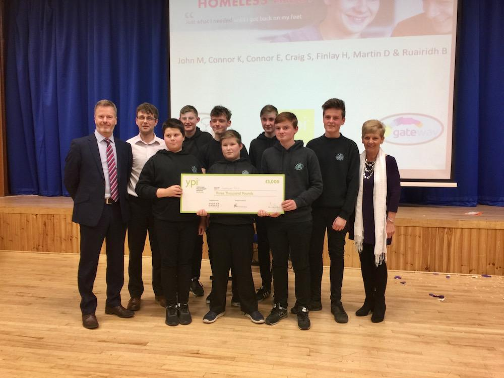 Gateway Trust Winners: Martin Dey, Findlay Hilditch, Ruaridh Buchan, Craig Shand, Connor Ewan, John MacMillan and Connor Knox with Mr O'Neill, Craig Riddle and Mrs Ann Sim.